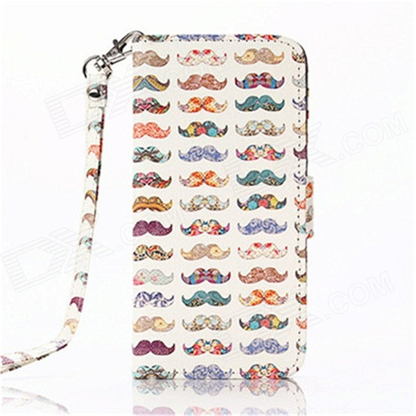 Multicolored Mustache Pattern PU Leather Wallet Case w/ Stand / Photo Frame for IPHONE 6 4.7'' elephant pattern flip pu leather wallet case w stand photo frame for iphone 6 4 7 white blue