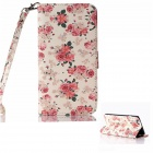 Flower Pattern Flip PU Leather Wallet Case w/ Stand / Photo Frame for IPHONE 6 PLUS - White + Pink