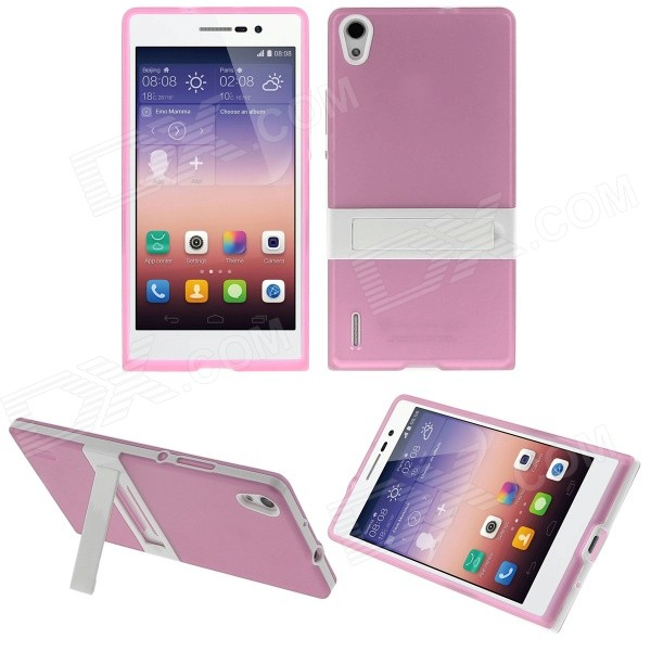 Hat-Prince Protective TPU Case w/ Stand for Huawei Ascend P7 - Pink boxwave keychain huawei ascend p6 s stand sturdy mini stand for the huawei ascend p6 s adjustable viewing angles great for streaming video coral pink
