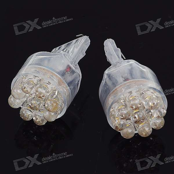 T20 0.45W 12V lumière blanche 9-LED Car Turning Signal Light Ampoules (2-Pack)
