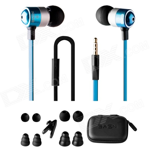 BASN M1 3.5mm Jack Wired In-ear Earphones w/ Headphone Noise Isolating Earbud - Blue + Black fashion professional in ear earphones light blue black 3 5mm plug 120cm cable