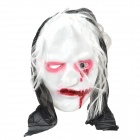 Holloween Party Cosplay Thinning White Hair One-eyed Zombie Mask - White + Black + Red
