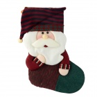 SMKJ E1RC B-Type Christmas Large Santa Sock Decoration Cartoon Creative Gift Bag - White + Red