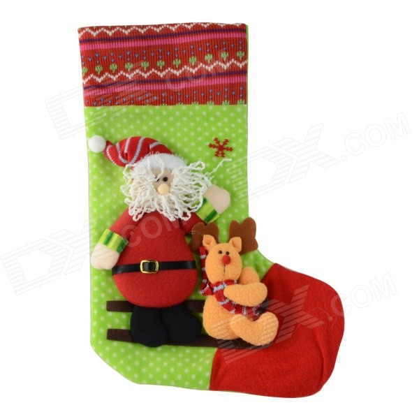 SMKJ E1RC C-Type Christmas Large Santa Sock Decoration Cartoon Creative Gift Bag - Red + Green