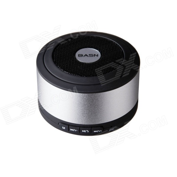 BASN D101 Mini Portable Bluetooth V3.0 + EDR Speaker with Microphone - Silver t050 3w mini portable retractable stereo speaker w tf black golden 16gb max