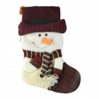 SMKJ E1RC A-Type Christmas Snowman Sock Decoration Cartoon Creative Gift Bag - White + Red
