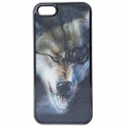 3D Graphic Wolf Pattern Protective Plastic Case for IPHONE 5 / 5S - Black + Gray