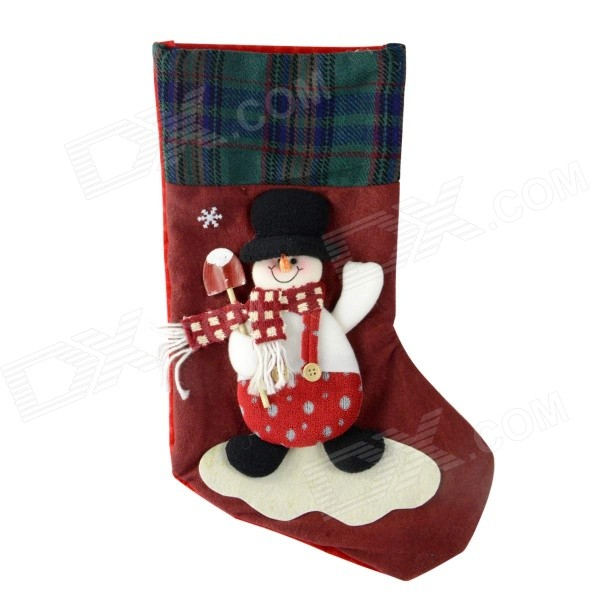 SMKJ E1RC B-Type Christmas Large Snowman Sock Decoration Cartoon Creative Gift Bag - White + Red
