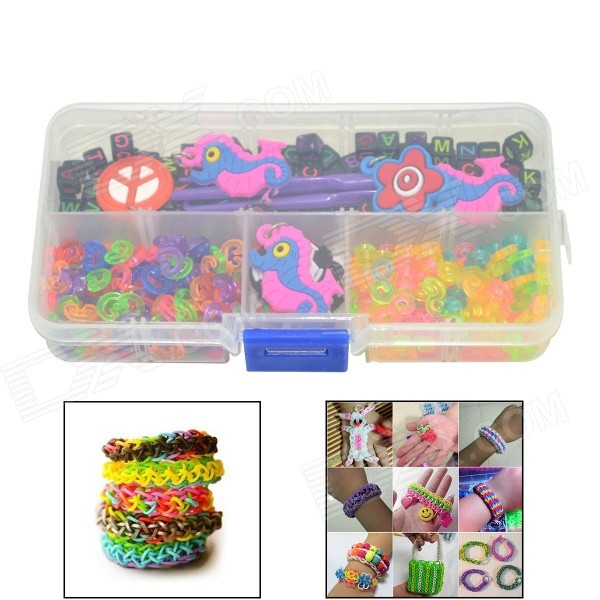 DIY Bandz Bracelets Pendant Ornaments / Colorful Beads with Carry Case Rainbow Loom Style for Kids
