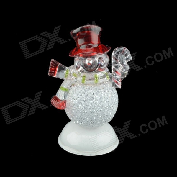 Christmas Musical Shining ABS Decorative Snowman Toy - White + Red (L)