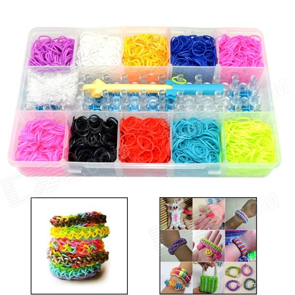 DIY Loom Kit Set Toy for Kid w/ Rainbow Rubber Wrist Bands / S-Clips - Red + Multi-Colored