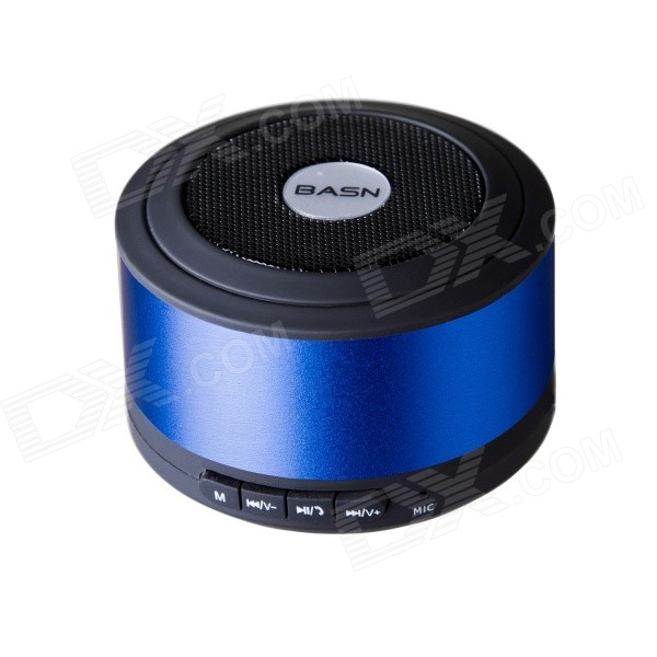 BASN D101 Mini Portable Bluetooth V3.0 + EDR Speaker with Microphone - Blue + Black t050 3w mini portable retractable stereo speaker w tf black golden 16gb max