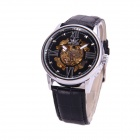 Sewor M103-2 PU Leather Band Auto Mechanical Analog Men's Watch - Black + Golden