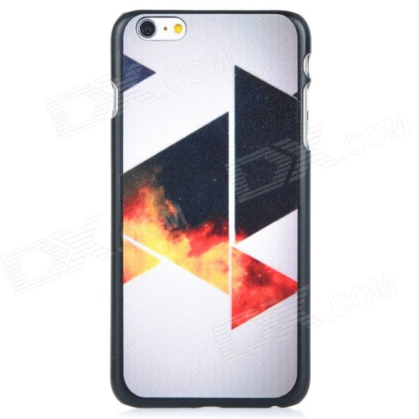 Triangle Pattern Protective PC Back Case Cover for IPHONE 6 PLUS - White + Black + Multi-colored iface mall for iphone 6 plus 6s plus glossy pc non slip tpu shell case black