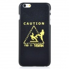 CAUTION Pattern Protective PC Back Case Cover for IPHONE 6 PLUS - Black + Yellow
