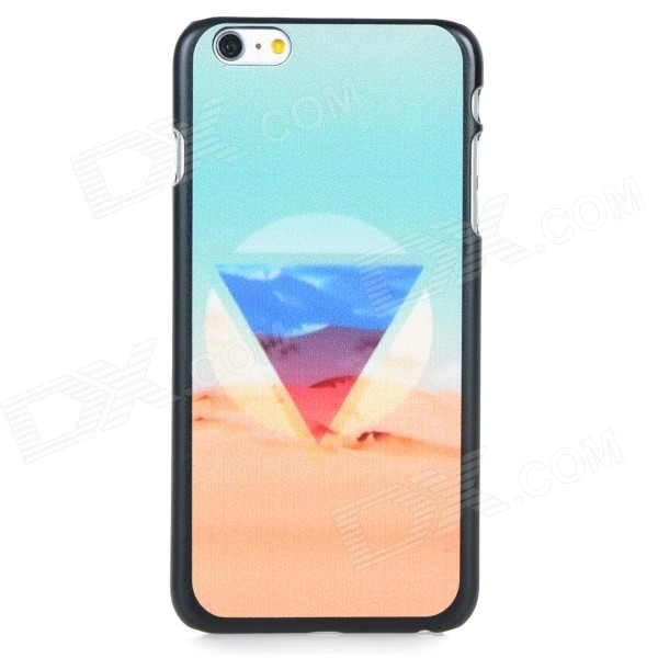 Triangle Desert Pattern Protective PC Back Case Cover for IPHONE 6 PLUS - Light Blue + Multi-colored for iphone 7 plus brushed tpu pc hybrid kickstand phone case accessory light blue