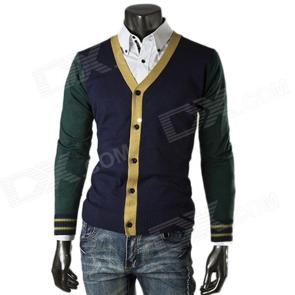 Fashion Knitting Cardigan Splicing Long Sleeve Men's Coat - Green + Deep Blue (XL)