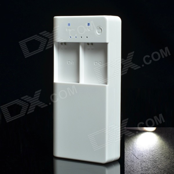 7500mAh Dual-Battery Slot Mobile Power w/ Flashlight for GoPro Hero 3+ / 3 / Cellphone / Tablet PC portable 6000mah power bank w flashlight for mobile tablet pc more pink white