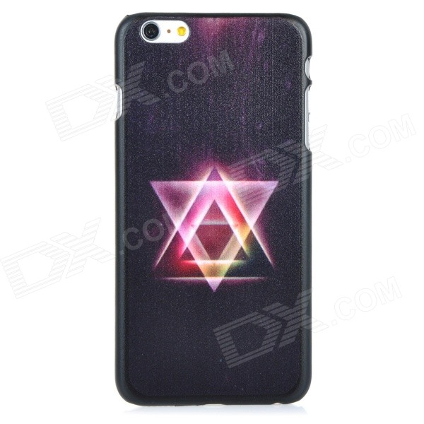 Triangle Pattern Protective PC Back Case Cover for IPHONE 6 PLUS - Black + Purple + Multi-colored protective pc tpu back case for iphone 5 w anti dust cover lavender purple