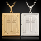U7 P194 18K Gold / Platinum Plated Copper Jesus Cross Bible Necklace Pendant w/ Photo Locket for Men
