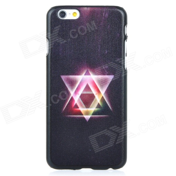 Triangle Pattern Protective PC Back Case Cover for IPHONE 6 - Black + Deep Pink + Multi-colored sweet bowknot pattern hard back cover pc case for iphone 6 translucent pink