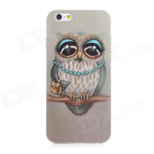 Owl Pattern Protective Soft TPU Back Case Cover for IPHONE 6 - Grey + Blue + Multicolored tpu material protective back case cover owl pattern for iphone 5c