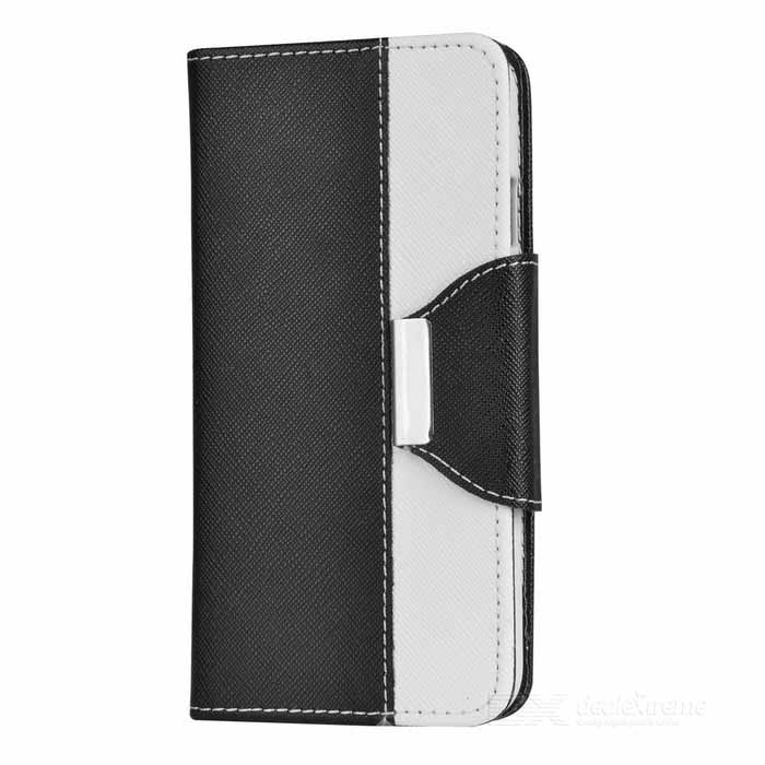 Protective Flip-Open PU Case w/ Strap / Stand for IPHONE 6 - White + Black protective pu case w stand strap for iphone 5 5s black
