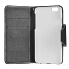 Protective Flip-Open PU Case w/ Strap / Stand for IPHONE 6 - White + Black