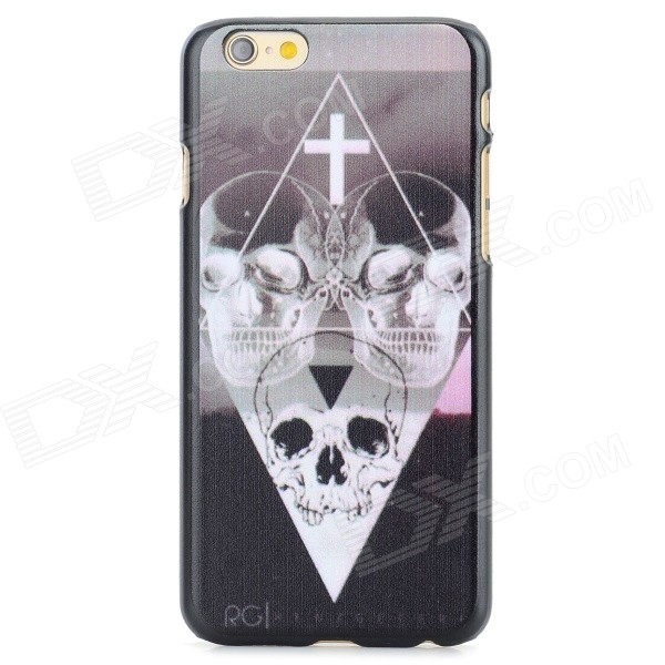 Skull Heads Pattern Protective PC Back Case for IPHONE 6 - Black + White 2017 new elegant handbag for women high quality split leather female tote bags stylish red black gray ladies messenger bag
