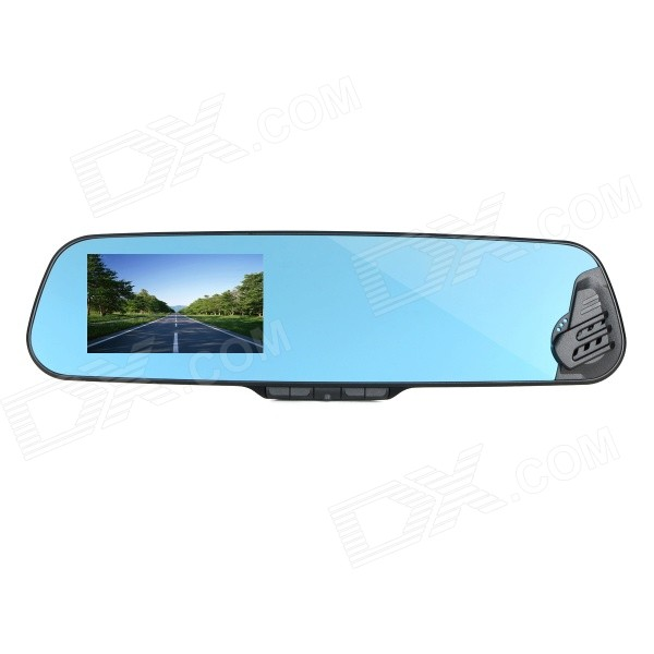 4.1 TFT 1080P HD CMOS Wide-Angle Car DVR Rearview Mirror w/ Anions Air Purifier - Black + Blue leaf print one piece swimsuit floral swimwear women 2017 bandage monokini high cut swim suits sexy backless bathing suit black