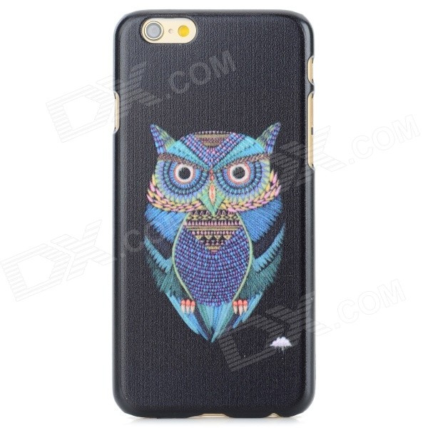 Owl Pattern Protective PC Back Case for IPHONE 6 - Black + Blue + Multi-Color 3d water lines pattern protective pc back case for iphone 5 5c 5s black