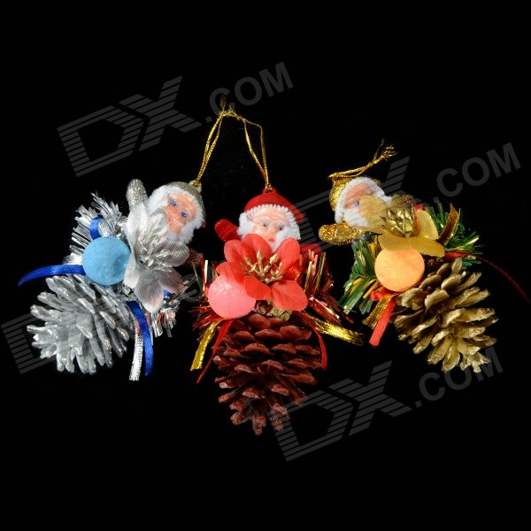 E1RC Pinecones Old Man Christmas Tree Ornaments - Multicolored (3 PCS)