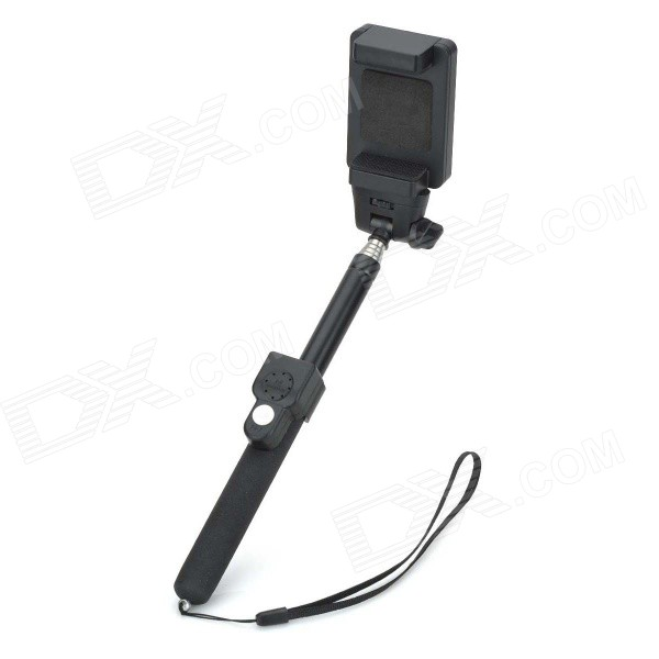 Handheld Selfie Monopod + Bluetooth Remote Shutter + Holder for iOS / Android Phone - Black дистанционный спуск затвора для фотокамеры oem selfie bluetooth remoto ios android