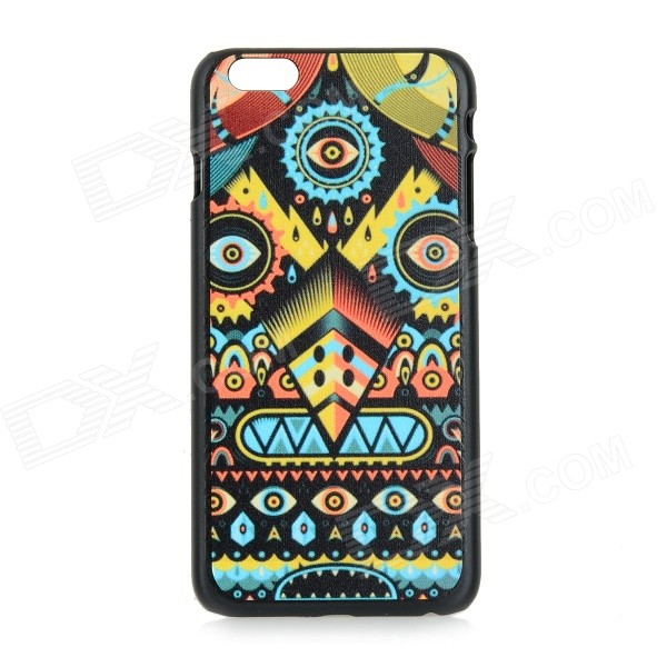 Patterned Protective PC Back Case Cover for IPHONE 6 PLUS - Blue + Yellow imd patterned tpu gel cover for iphone 7 plus 5 5 inch tribal dream catcher