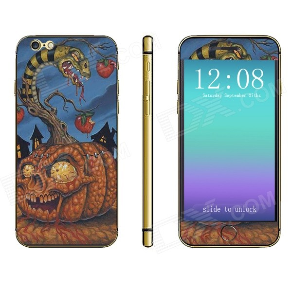 Stylish Scared Snake & Pumpkin Pattern Front + Back Decorative Stickers Set for IPHONE 6 4.7