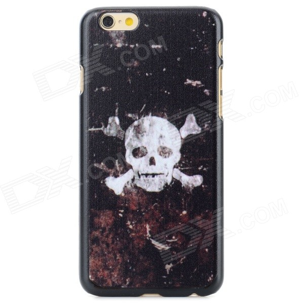 Skull Head Pattern Protective PC Back Case for IPHONE 6 - Black + White cat pattern protective pc back case for iphone 6 4 7 white pink multi color