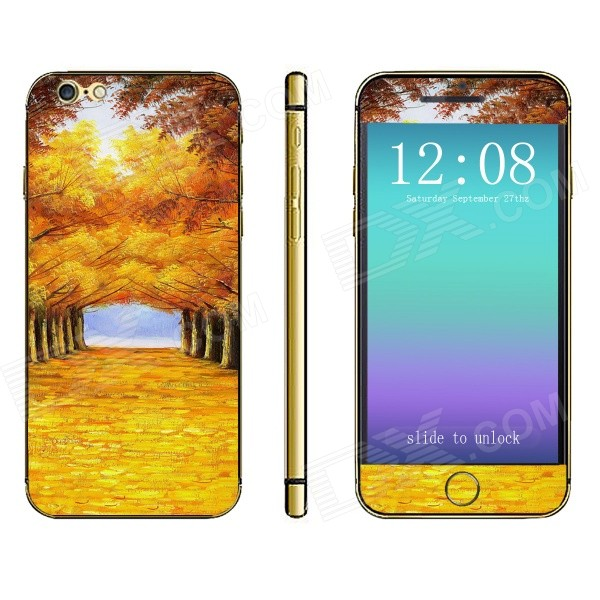 Stylish Golden Autumn Pattern Front + Back Decorative Stickers Set for IPHONE 6 4.7