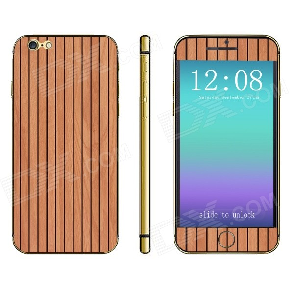 Stylish Vertical Strip Wooden Pattern Front + Back Decorative Stickers Set for IPHONE 6 4.7