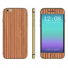 Stylish Vertical Strip Wooden Pattern Front + Back Decorative Stickers Set for IPHONE 6 4.7""
