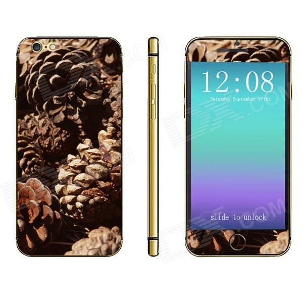 Stylish Pinecone Pattern Front + Back Decorative Stickers Set for IPHONE 6 4.7