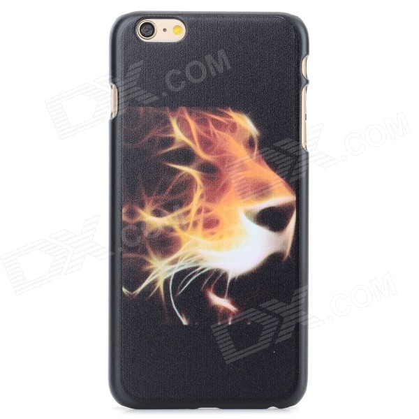 Tiger Head Pattern Protective PC Back Case for IPHONE 6 PLUS - Black + Yellowish-brown iface mall for iphone 6 plus 6s plus glossy pc non slip tpu shell case black