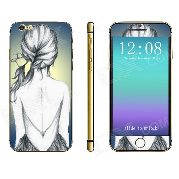 Stylish Back View of Girl Pattern Front + Back Decorative Stickers Set for IPHONE 4.7 - White + Grey