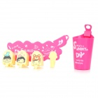 Tooth Mug + Suction Toothbrush Holders + Hook Set - Deep Pink + Beige