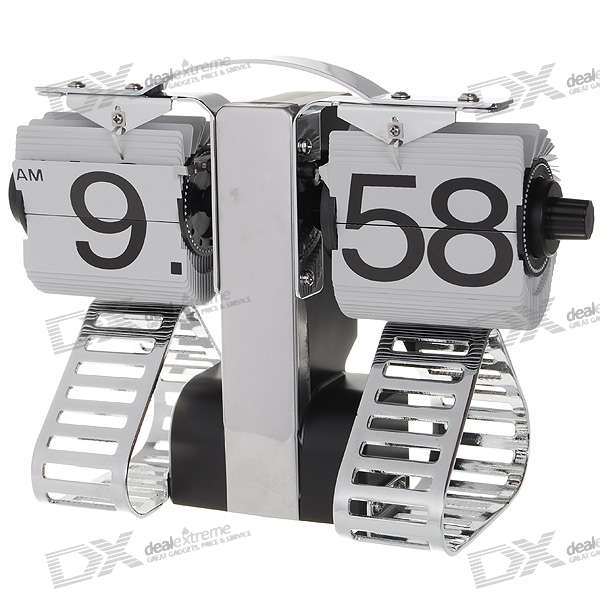 Robot Shaped Retro Digital Flip Page Gear Clock (1 x D Battery)