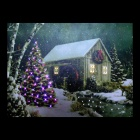 MY-12 Christmas Decorative Wall Frameless Canvas LED Light Painting - Green + White (40 x 30cm)