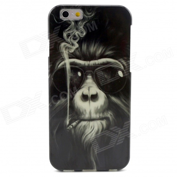 Smoking Monkey Pattern TPU Soft Cover Case for IPHONE 6 - Black mercury goospery flash powder gel tpu cases cover for iphone se 5s 5 rose