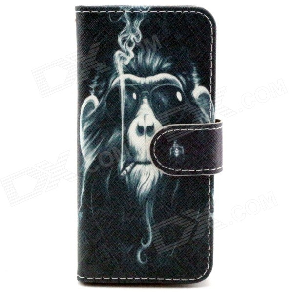 Smoking Monkey Pattern PU Leather Full Body Case w/ Stand + Card Slot for IPHONE 6 - Black + Gray metal chain handbag style pu tpu full body case w card slot for iphone 6 4 7 gold