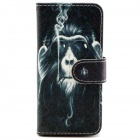 Smoking Monkey Pattern PU Leather Full Body Case w/ Stand + Card Slot for IPHONE 6 - Black + Gray