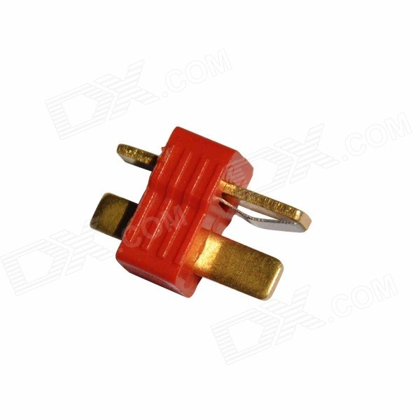Universal Plastic + Copper Anti-slip T Male Plug Connector - Red + Bronze