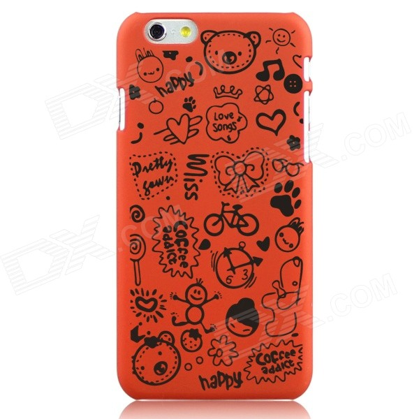 Hat-Prince Cartoon Print Protective Matte Non-slip Case Back Cover for IPHONE 6 PLUS - Orange iface mall glossy pc non slip tpu back case for iphone 6 plus 6s plus blue